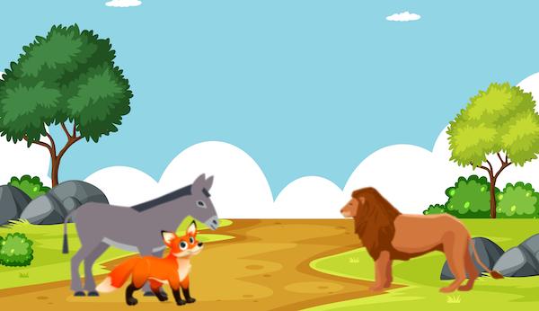 El asno y la zorra encuentran al león