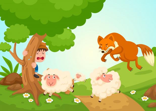 El joven pastor anunciando al lobo