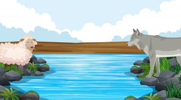 El lobo y el cordero en el arroyo