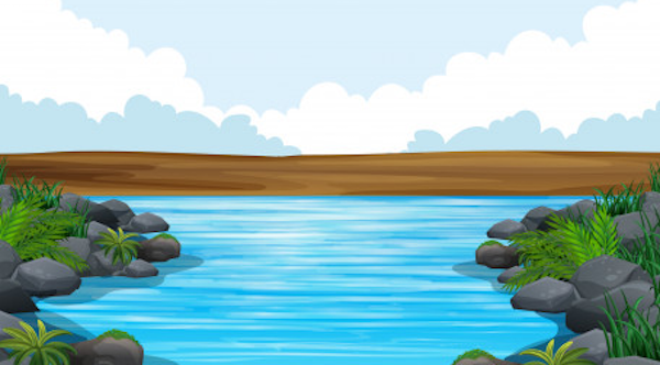El perro y su reflejo en el río