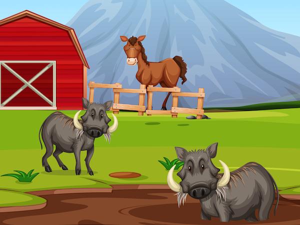 El caballo y el jabalí