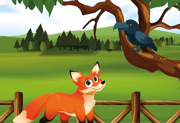 la zorra y el cuervo hambriento