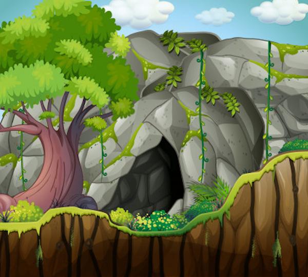 La cierva en la gruta del león